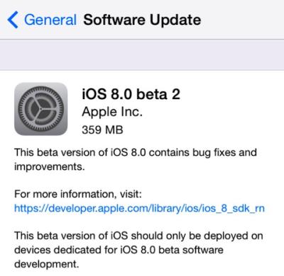 Apple iOS 8: pubblicata la versione beta 2 per gli sviluppatori