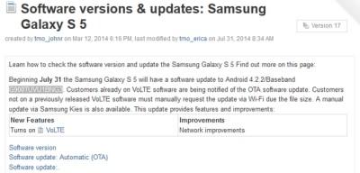 Aggiornamento Samsung Galaxy S5