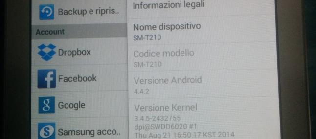 Aggiornamento Galaxy Tab 3 7.0 Wifi