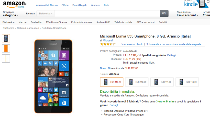 Microsoft Lumia 535 a 119 Euro su Amazon e la Nuova ...