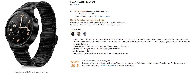 Prezzzo Huawei Watch su Amazon.de_