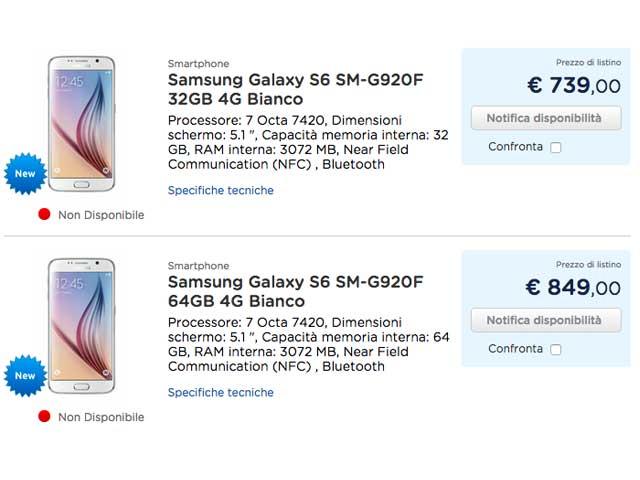 Prezzo Samsung S6