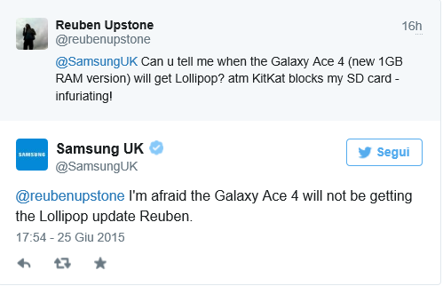 samsung uk tweet