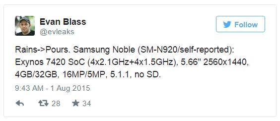 Memoria Samsung Galaxy Note 5 senza slot per la microSD