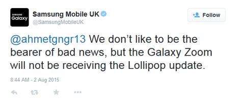 Niente Aggiornamento Galaxy K Zoom ad Android Lollipop