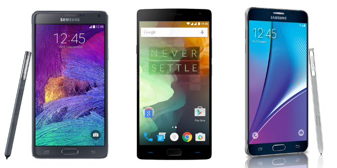 Samsung Galaxy Note 5 vs Galaxy Note 4 vs OnePlus 2