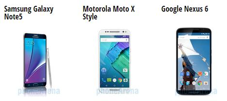 Samsung Galaxy Note5 vs Google Nexus 6 vs Motorola Moto X Style