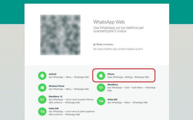 WhatsApp Web Eccolo pronto per iPhone