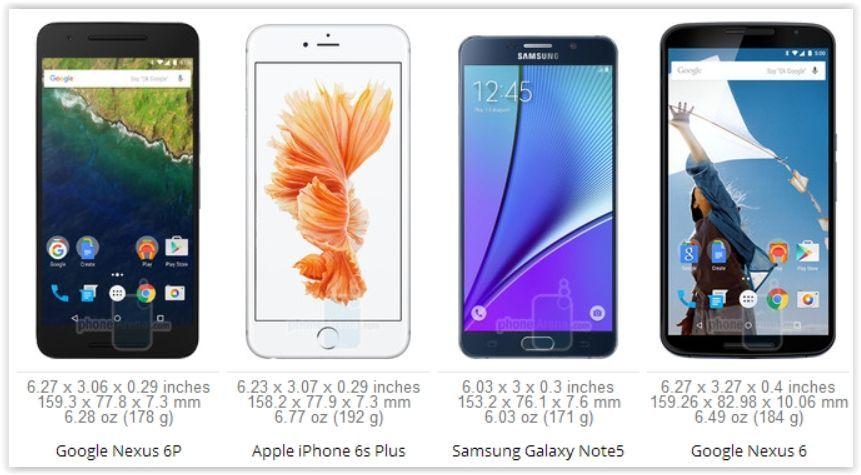 Google Nexus 6P VS iPhone 6s Plus VS Galaxy Note 5 VS Nexus 6