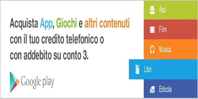 Pagare Play Store con credito telefonico 3 Italia