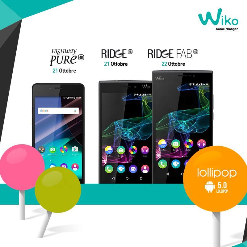 Aggiornamento Wiko Pure, Wiko Ridge e Ridge Fab ad Android Lollpop