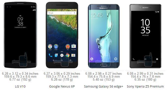 LG V10 vs Galaxy S6 edge Plus vs Nexus 6P VS Xperia Z5 Premium