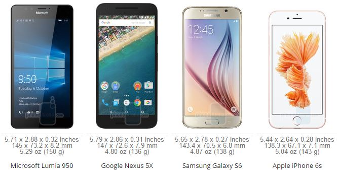 Lumia 950 VS Apple iPhone 6s VS Samsung Galaxy S6 VS Nexus 5X