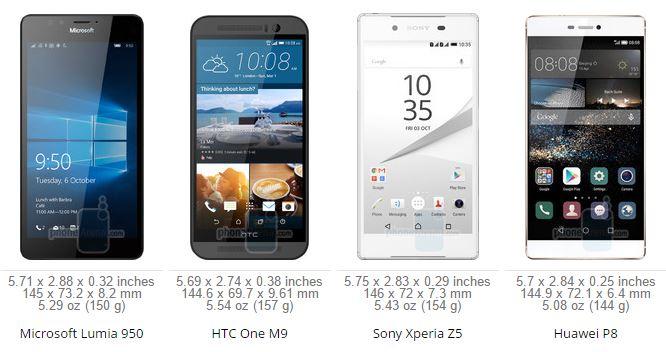 Lumia 950 VS Huawei P8 VS Sony Xperia Z5 VS HTC One M9