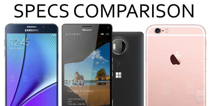 Microsoft 950 XL vs Apple iPhone 6s Plus vs Samsung Galaxy Note 5
