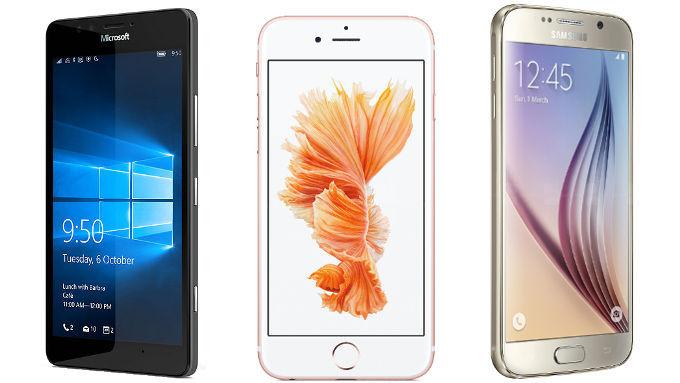 Microsoft Lumia 950 vs Apple iPhone 6 vs Samsung Galaxy S6 Header