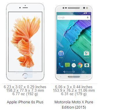iPhone 6S Plus vs Motorola Moto X Pure