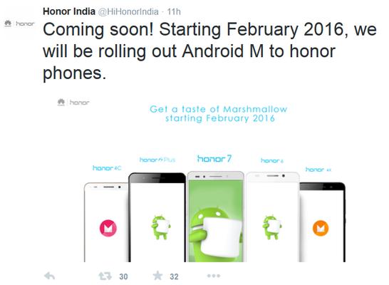 Gamma Huawei Honor Aggiornamento Android 6 Marsmallow a Febbraio 2016
