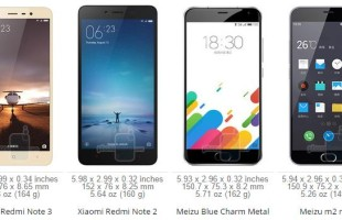 Xiaomi Redmi Note 3 VS Redmi Note 2 vs Meizu Metal VS Meizu M2 Note