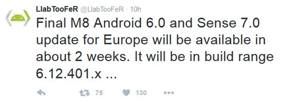 ll-a aggiornamento Android 6.0 HTC One M8