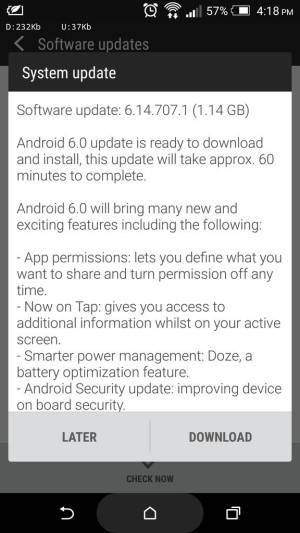 Aggiornamento HTC One M8 Android 6.0 Marshmallow