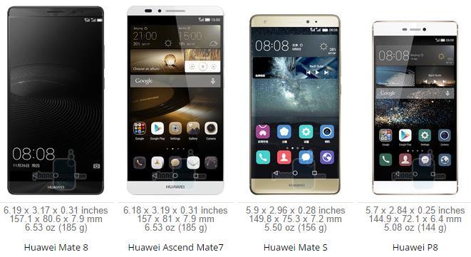 Huawei Mate 8 VS Mate 7 VS Mate S VS P8