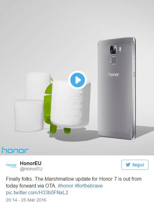 Aggiornamento Honor 7 ad Android Marhsmallow per l'Europa