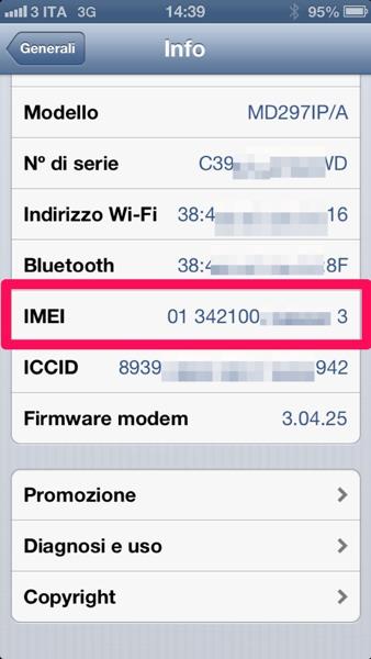 Trovare codice IMEI iPhone