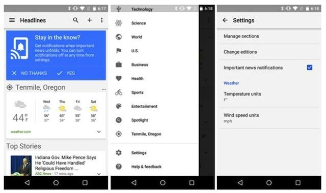 Accedere a Google Notizie e Meteo