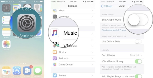 Nascondere Apple Music iPhone