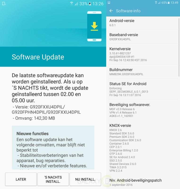 Aggiornamento Galaxy S6 e S6 Edge: arrivano le patch di settembre