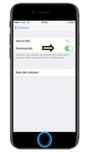 Disabilitare Roaming dati su iPhone