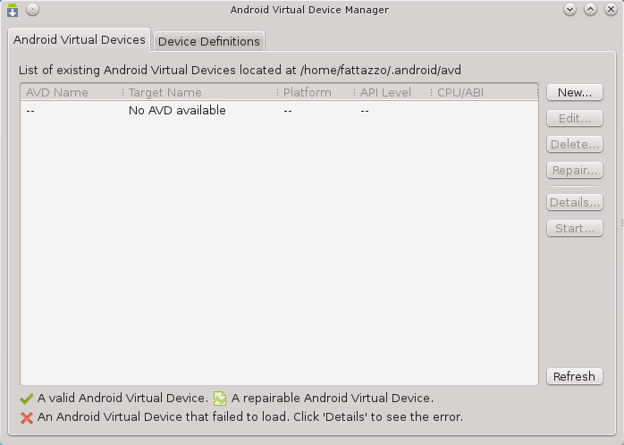 Android Virtual Device Manager list