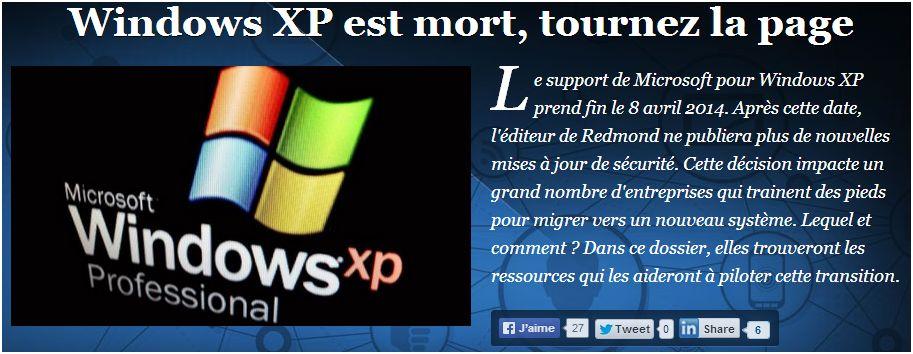 Windows XP est Mort