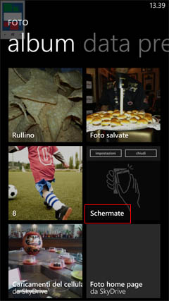 come fare screenshot su Windows Phone 8.