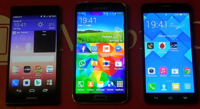 Huawei Ascend P7 VS Samsung Galaxy S5 VS Alcatel Idol X+
