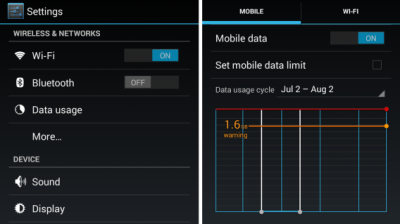 Impostare un limite al traffico dei dati