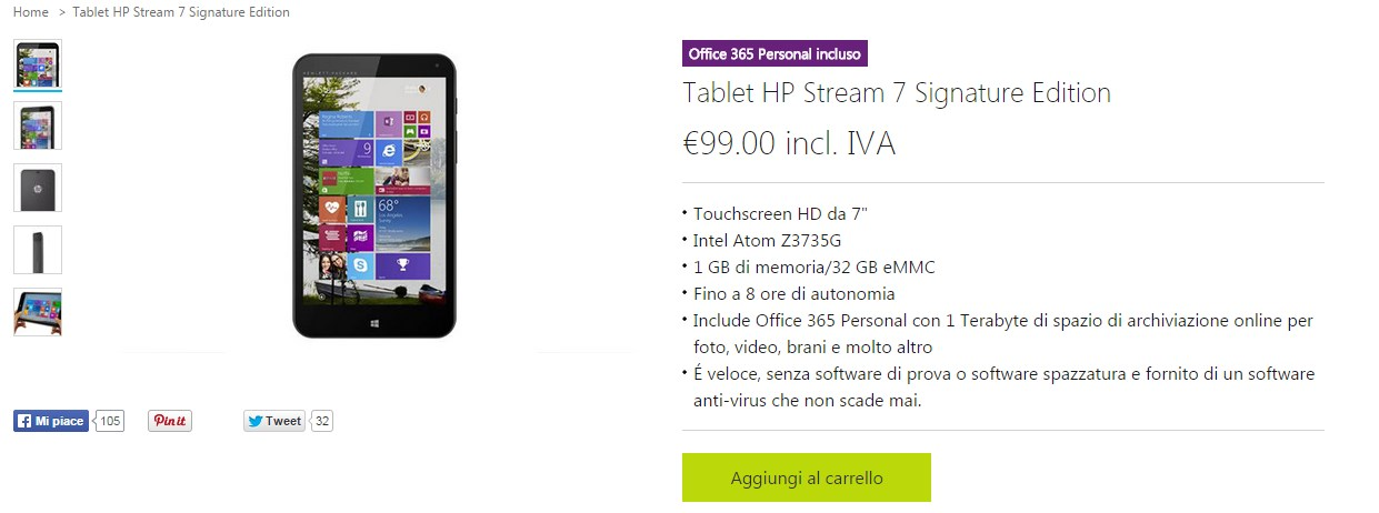 Tablet Windows 8 HP Stream 7