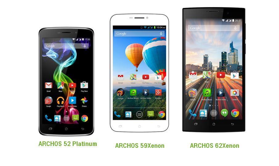 ARCHOS 52 Platinum, ARCHOS 59 Xenon e ARCHOS 62 Xenon