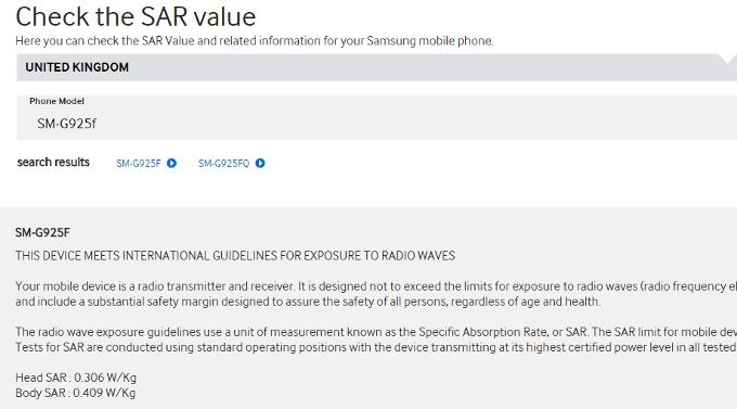Samsung Galaxy S6 Edge Trapelano Valori SAR e Radiazioni Emesse