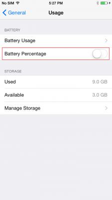Percentuale Batteria iPhone 6