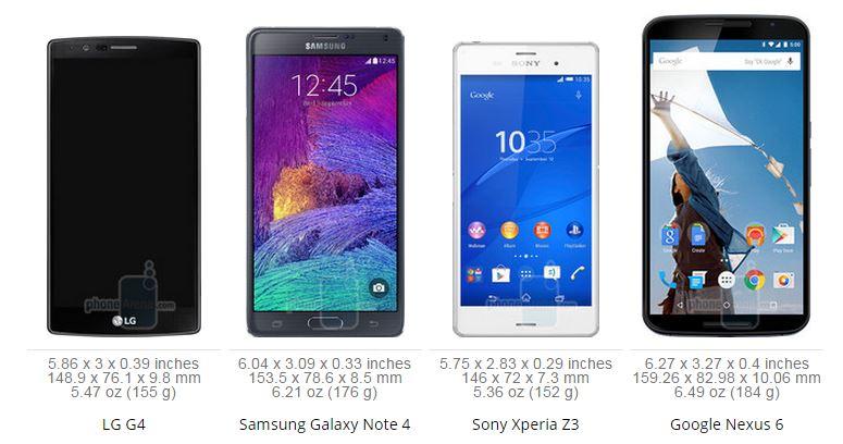 LG G4 vs Samsung Galaxy Note 4 vs Nexus 6 vs Sony Xperia Z3