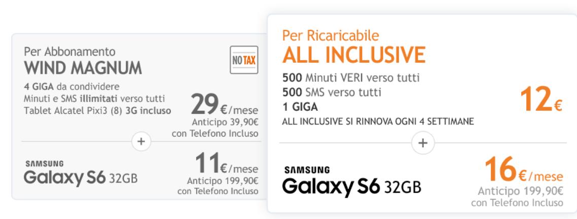 Nuova Offerta Wind Galaxy S6 Wind Magnum No Tax o All Inclusive Ricaricabile!