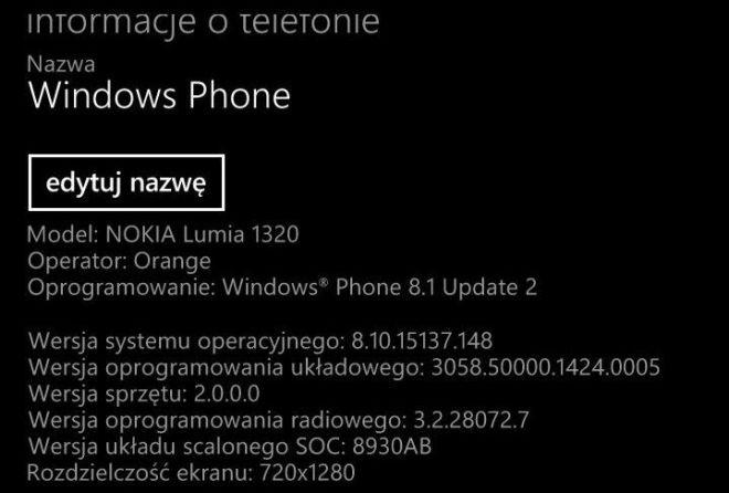 Aggiornamento Lumia 1320 a Windows Phone 8.1 Update 2 e