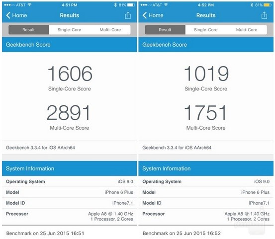 benchmark low power mode iOS 9