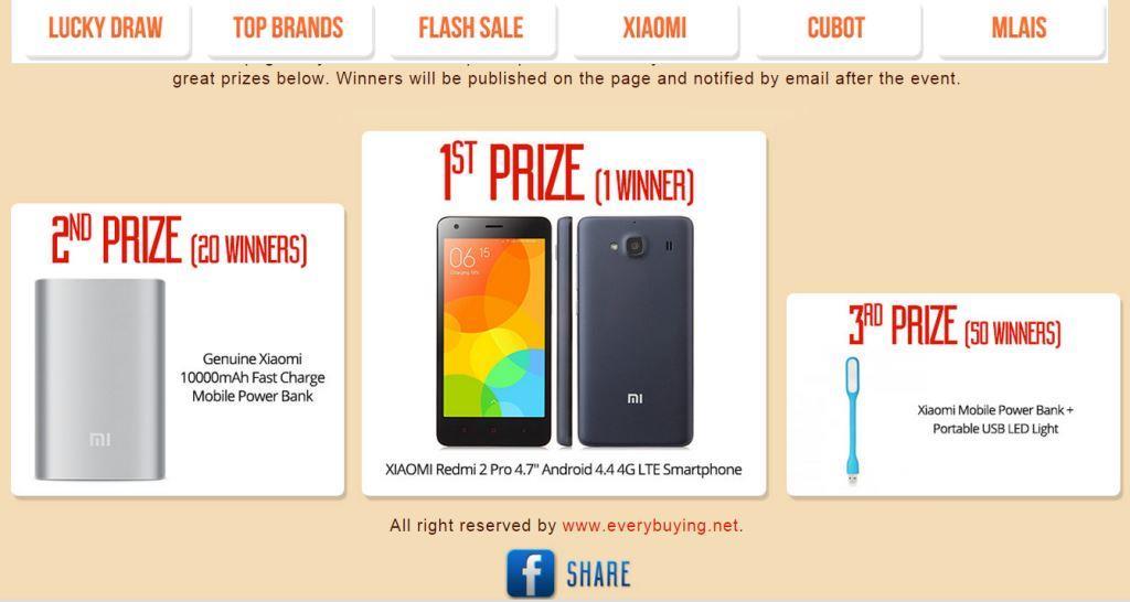 Grande Concorso su EverBuying Tenta anche tu la fortuna e vinci uno smartphone Xiaomi!