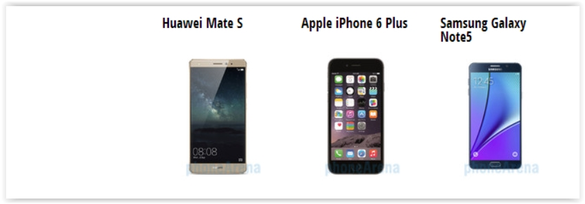 Huawei Mate S vs iPhone 6 Plus vs Samsung Galaxy Note 5 Specifiche a confronto (2)