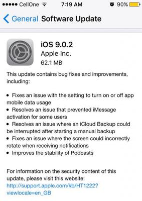Aggiornamento iOS 9.0.2