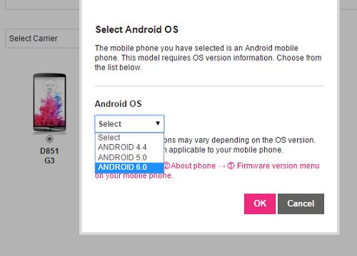 aggiornamento android 6 lg