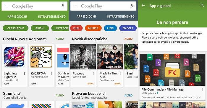 Nuova interfaccia Play Store